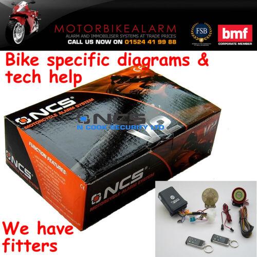 TALKING NCS V2 MOTORBIKE BIKE MOTORCYCLE ALARM /& IMMOBILISER WITH REMOTE START