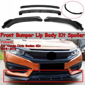 Matte-Black-Front-Bumper-Lip-Spoiler-Splitter-For-Honda-Civic-SI-Sedan-2016-2018