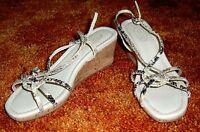 Talbots Gray Gold Snake Print Leather Cork Wedge Mid Heel 8 Sandal Mrsp $88