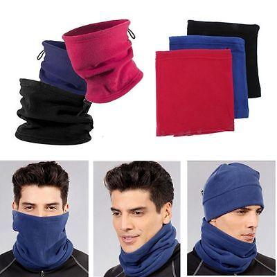 Mens Ladies Plain Polar Fleece Neck Wrap Warmer Thermal Snood Scarf Hat Ski Wear