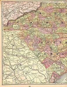 1900 Antique SOUTH CAROLINA Map NORTH CAROLINA Map Original ...