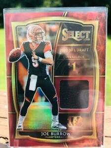 2020 Select Joe Burrow #1 Overall Draft Pick Red Prizm Patch rookie card RC💥
