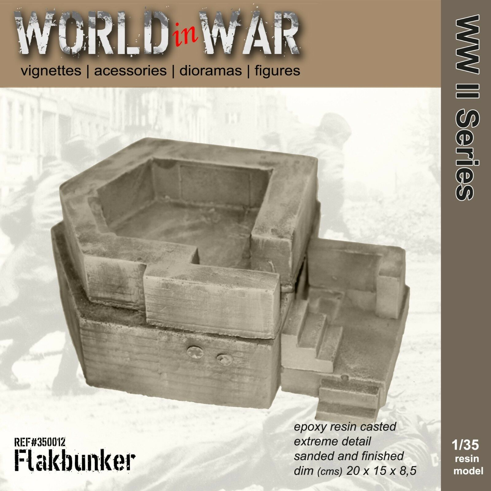 World in War - 1 35 Resin Model Ruins Flak Bunker WW2 5849de