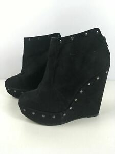 WOMENS-NEW-LOOK-UK-7-EU-40-BLACK-FAUX-SUEDE-STUDDED-HIGH-WEDGE-HEEL-ANKLE-BOOTS
