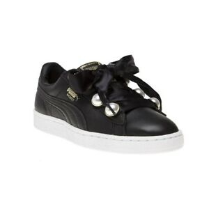 favorable price big discount of 2019 50% price Details about New WOMENS PUMA BLACK BASKET BLING LEATHER Sneakers Court