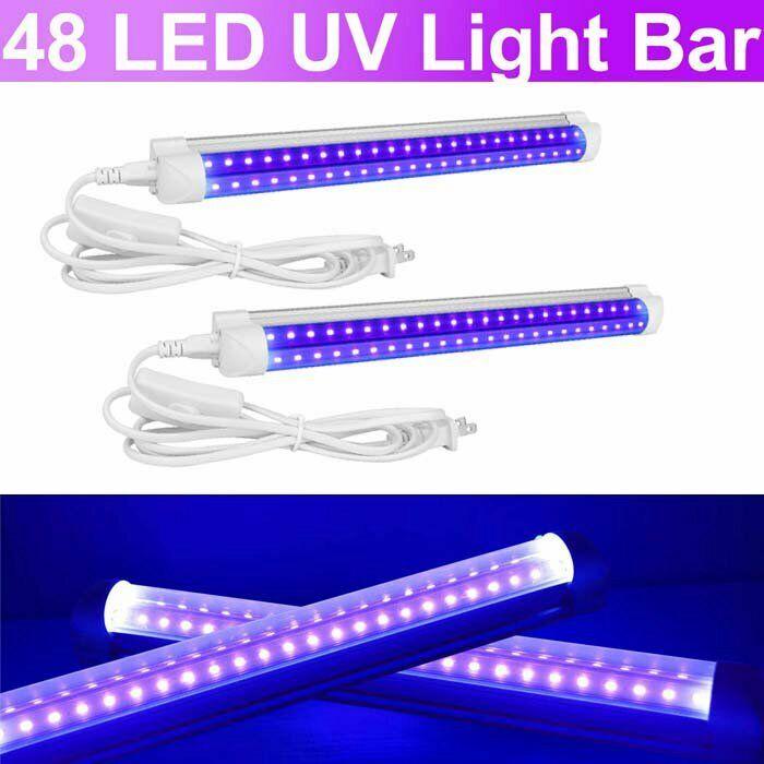 2pack 48LED UV Light Bar Black Fixtures Ultraviolet Lamp Strip DJ Party Club