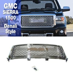 chrome denali style mesh upper front bumper grille for gmc 2014 2015 sierra 1500 ebay. Black Bedroom Furniture Sets. Home Design Ideas