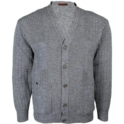 3XL Mens Classic Buttons Vintage Plain Knitted Grandad Cardigan Jumper UK S