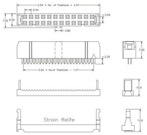 50Pcs 2.54 mm pitch 2x9 pin IDC 18 broches femelle Header Socket Connecteur