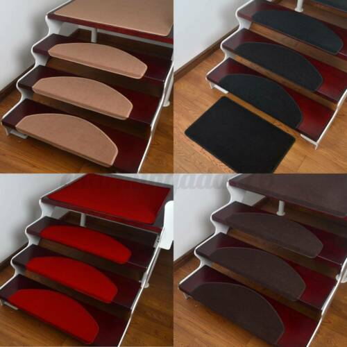 15x Mats Step Staircase Stair Tread Carpet Non Slip Mat Protection Cover Pads UK
