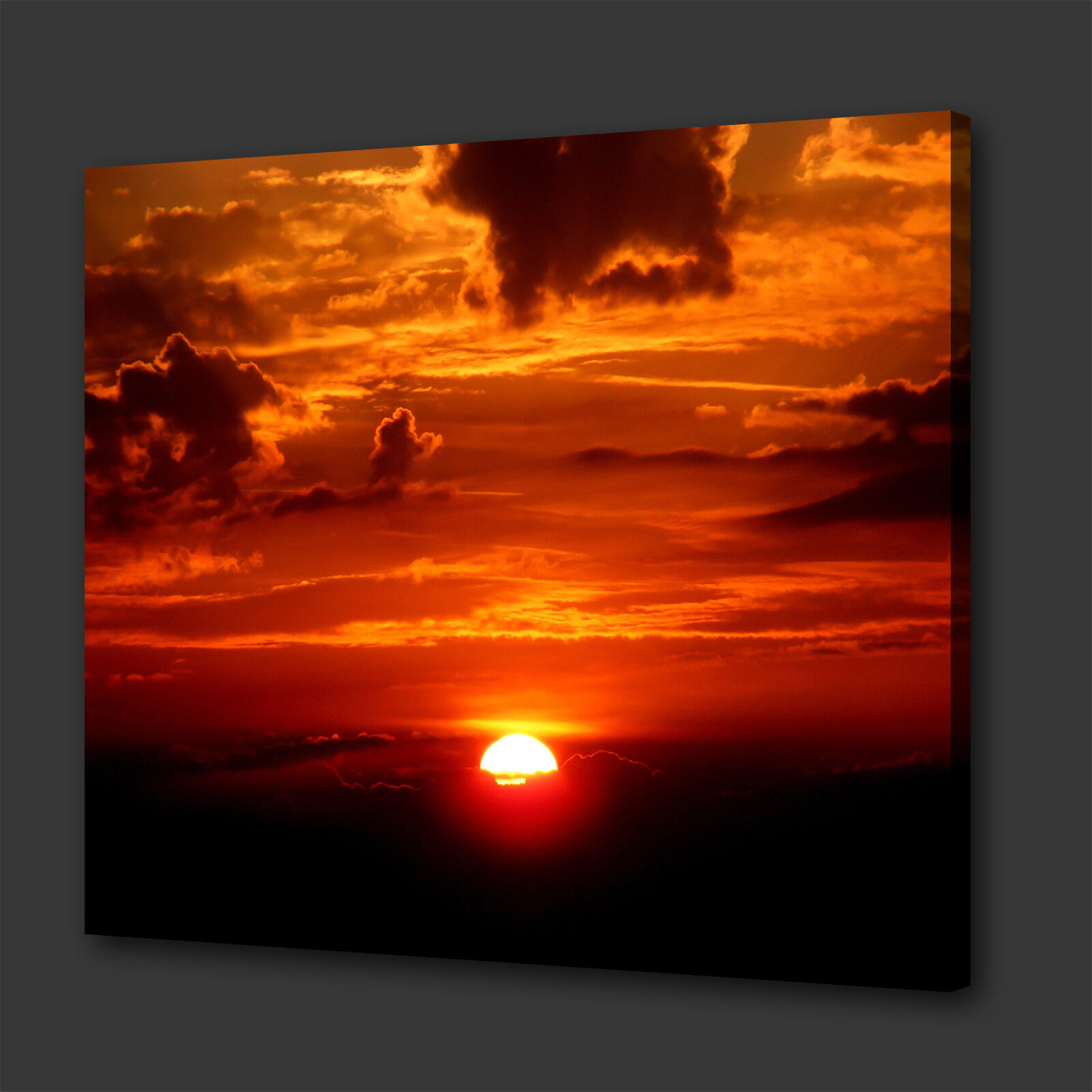 STUNNING VERY Orange SUNSET CLOUDS BOX CANVAS PRINT WALL ART PICTURE PHOTO