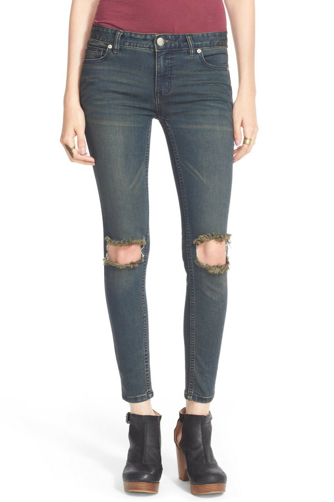 FREE PEOPLE Destroyed Skinny Jeans Size 25 Dark Wash Patsy Ripped NWT