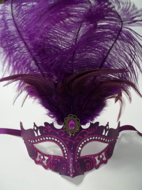 Pink, Blue, Purple Princess Oval Feather Mardi Gras Masquerade Mask