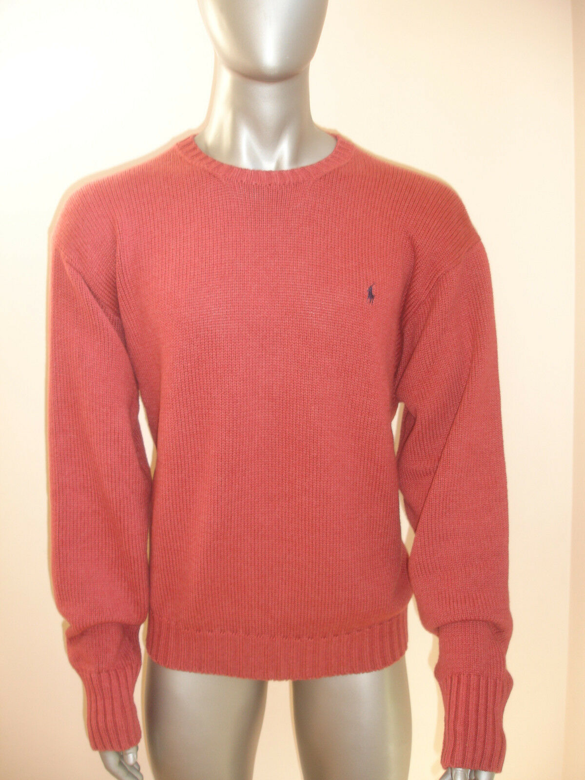 POLO RALPH LAUREN KNIT SWEATER TOP MENS size XL RED WASHED COTTON