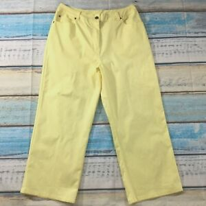 Denim-amp-Co-Womens-Pants-14-new-Yellow-Lightweight-Cotton-Stretch-Capris-Cropped