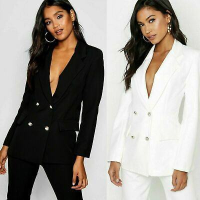 Ladies Double Breasted GOLD Button Front Black Military Style Blazer Coat Jacket