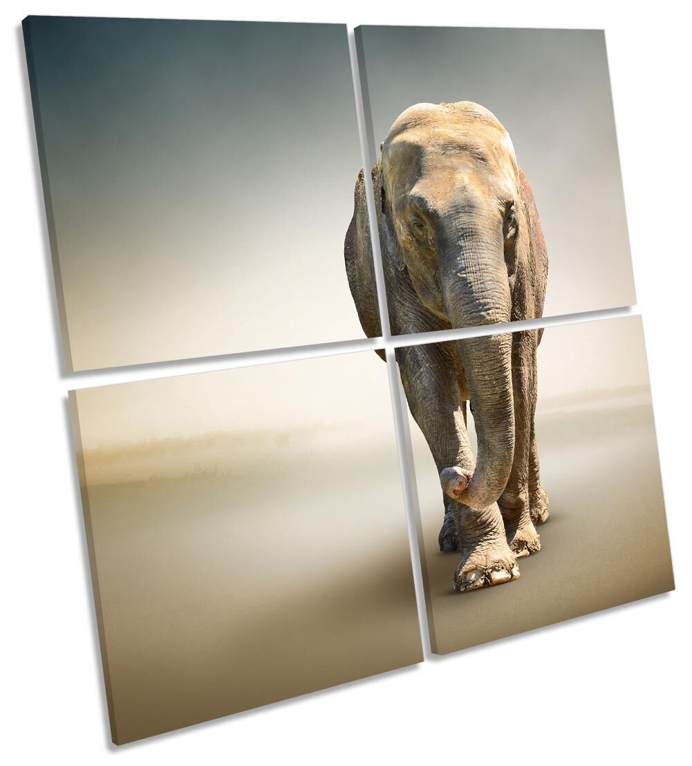 Elefante Africano incorniciato Multi stampa tela arte Square