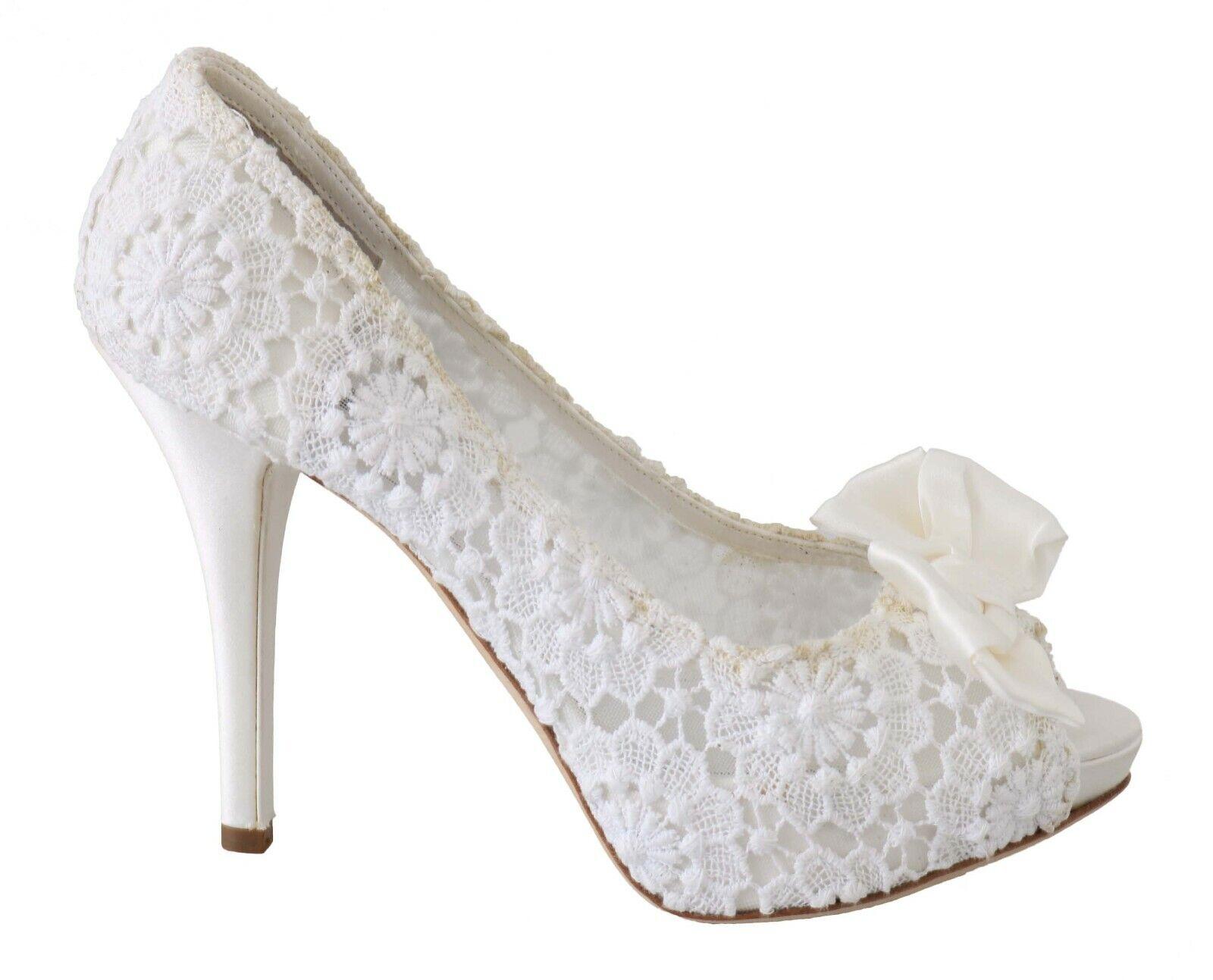 DOLCE & GABBANA Shoes Platform Open Toe White Lace Pumps EU39/ US8.5 RRP