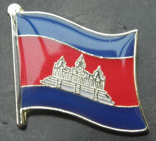 Cambodia Country Flag Lapel Hat Cap Tie Pin Badge Preăh Réachéanachâk Kâmpŭchéa