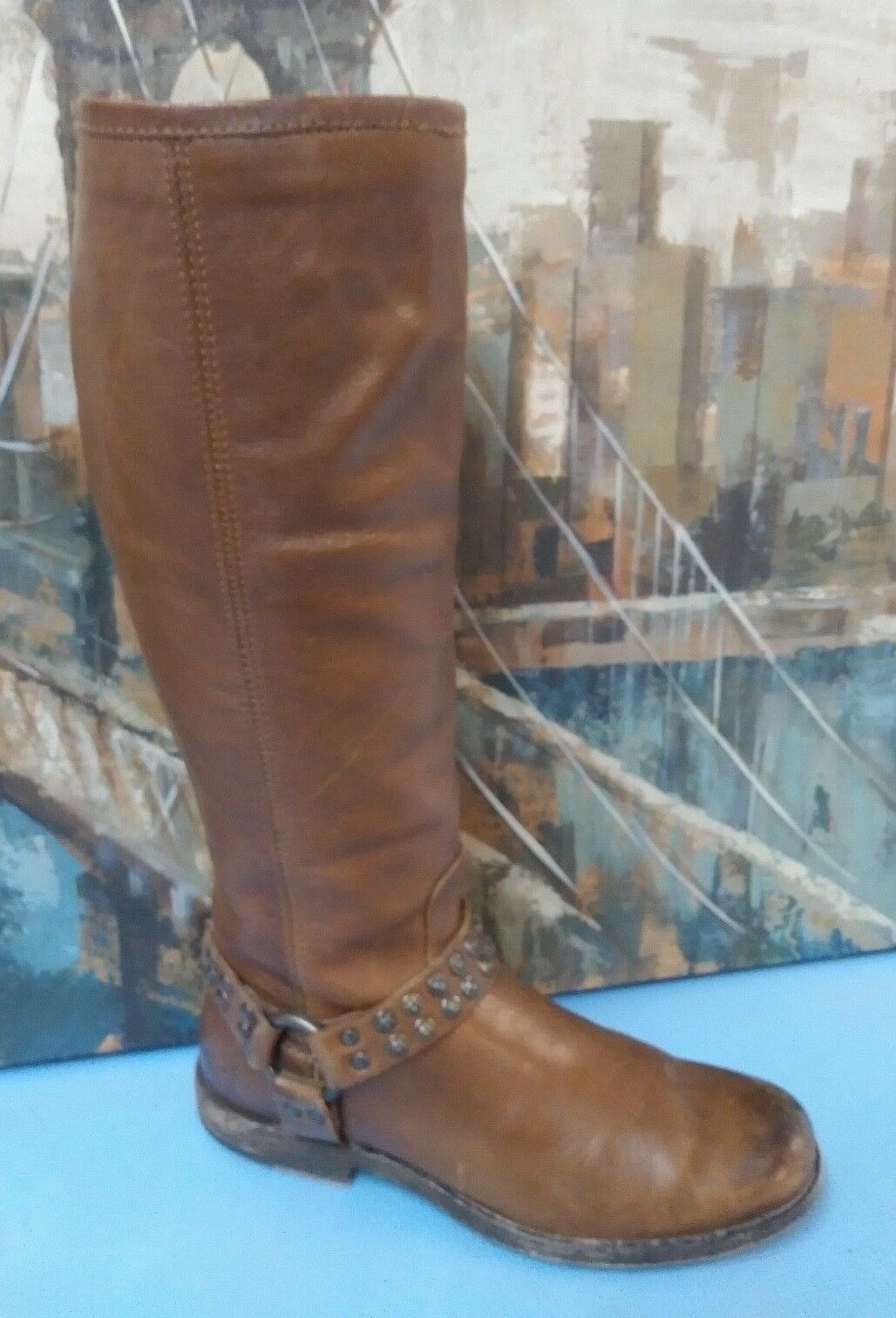 FRYE 4001 John Atoye Brown Leather Tall Boot Women Size 9B Made in MEXICO