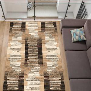 Teppich Modern Wohnzimmer Stylisch Kurzflor Beige Braun Schwarz