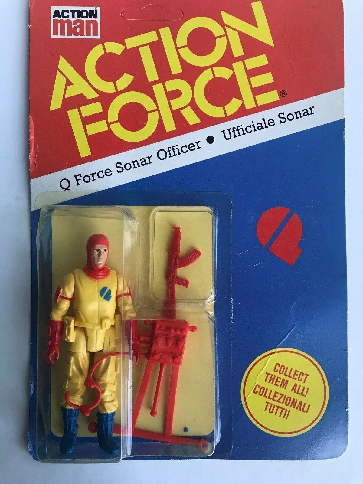Vintage Palitoy Action Force Q Sonar Officer Ufficiale Sonar MOC UK Italian Card