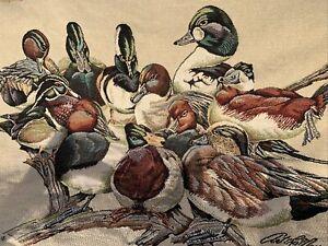 Vintage Ducks Unlimited Throw Blanket Hirata Mallard Ducks Goodwin Weavers USA
