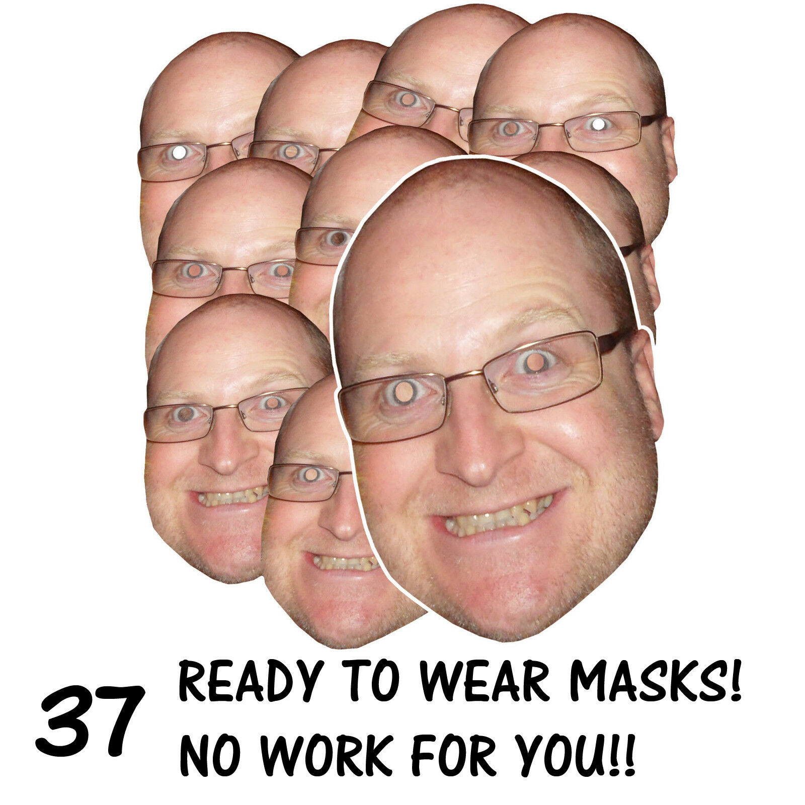 37 x PERSONALISED FUN FACE MASKS - STAG HEN PARTY - SEND US YOUR PIC - FREE P&P
