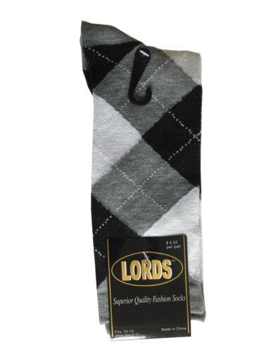 12 Paires Nouveau Coton Homme Lords Argyle Robe Style Chaussettes Taille 10-13 Multi-couleur