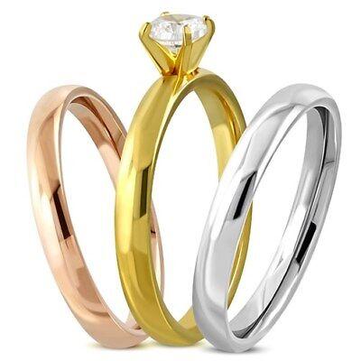Damen-Ring Edelstahl Diagonal Streifen 3-farbig Triple Dreierring 3 in 1