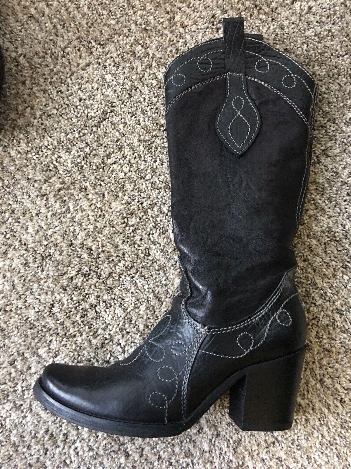 Vero Cuoio Alla Pugacheva Mujer Cuero Negro botas De Vaquero Occidental