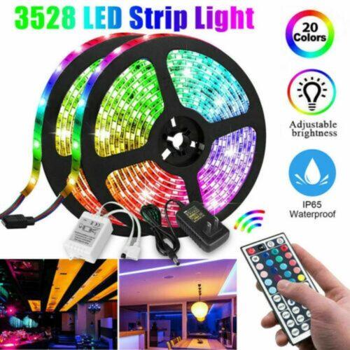 5M 16FT 3528 SMD RGB 600LEDs LED Light Strip+44Key Remote Control+12V US Power