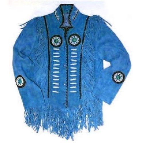 Chaqueta de flecos de estilo occidental de cuero de gamuza color azul