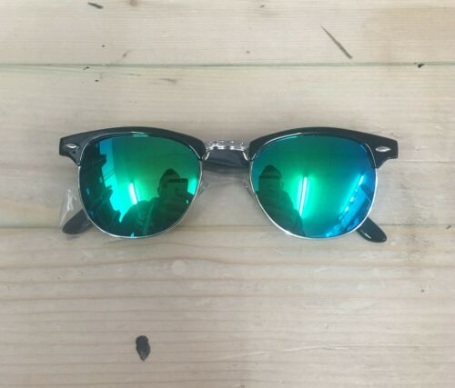 Black Green lenses 1950s Vintage Sunglasses Mens Ladies Womens UV HALF RIMMED