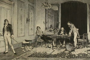 William-Quiller-ORCHARDSON-1832-1910-Radierung-HARD-HIT-Kartenspieler-Poker