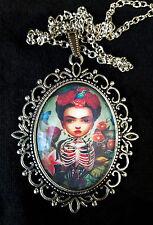 Frida Kahlo Large Antique Silver Pendant Necklace Cartoon Mexico Artist Flowers