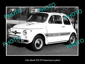 OLD-LARGE-HISTORIC-PHOTO-OF-FIAT-ABARTH-595-1971-LAUNCH-PRESS-PHOTO