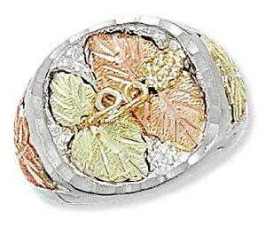 Landstrom-039-s-Black-Hills-Silver-Men-039-s-Ring-with-12k-Gold-Leaves-Size-9-14