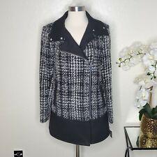 Bar Iii Blackwhite Tweed Asymmetrical Plaid Walker Coat Xs