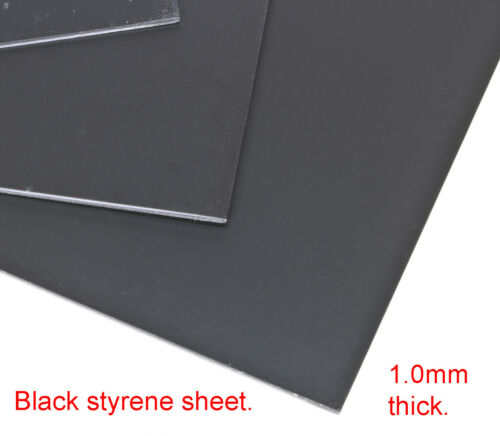 40thou thick BLACK styrene card for modelling work of all kinds. 1.0mm thick