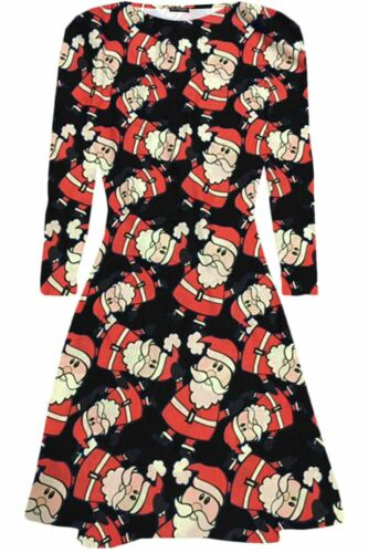 Womens Christmas Swing Dress Ladies Xmas Santa Rudolph Olaf Gift Present Snowman