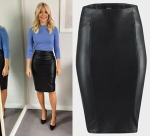 BNWT Black Faux Leather Pencil Skirt Bik Bok Ladies Knee Length RRP £30 XS-L