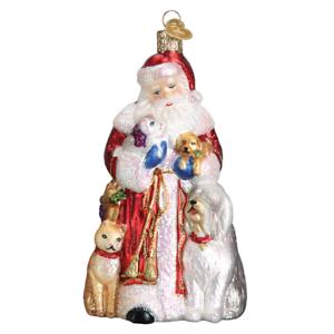 Old-World-Christmas-SANTA-039-S-FURRY-FRIENDS-40288-X-Glass-Ornament-w-Box