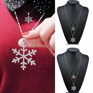 Women-Vintage-Crystal-Rhinestone-Snowflake-Pendant-Chain-Necklace-Christmas-Gift