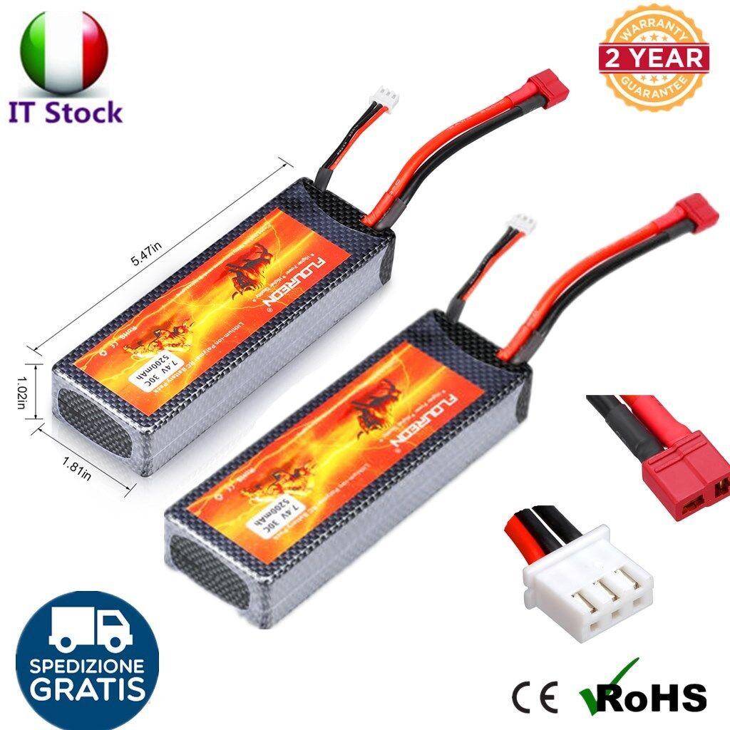 2x FLOUREON 7.4V 5200mAh 2S 30C Lipo RC Batterie Deans per RC Auto Elicottero IT