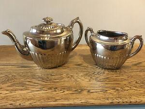 Vintage-Tea-Pot-amp-Sugar-Dish-Silvoe-Art-Ware-Brown-Silver-Glaze-Burslem