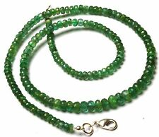 Natural Gem Fine Quality Zambia Emerald 4 to 6MM Rondelle Beads Necklace 19""