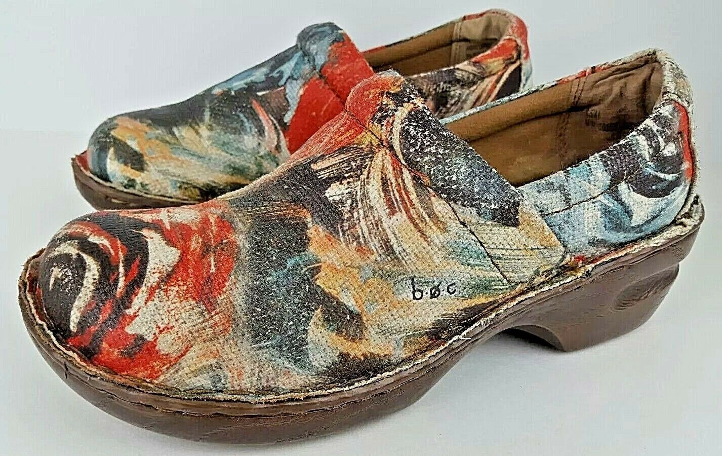 Born Concept BOC femmes Taille 9.5M Floral Rose Fabric Chunky Heel Clogs C00067