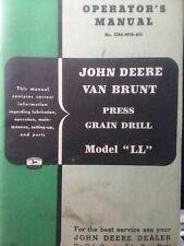 John Deere Van Brunt Ll Press Grain Drill Farm Implement Owner Amp Parts Manual