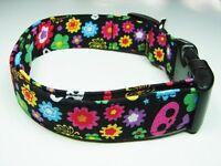 Charming Skelanimals Skulls & Ditzy Flowers Standard Dog Collar